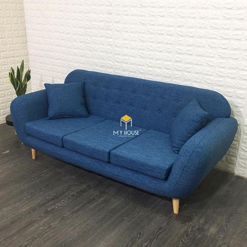 Sofa màu xanh dương hiện đại và nổi bật cho phòng khách chung cư màu trắng