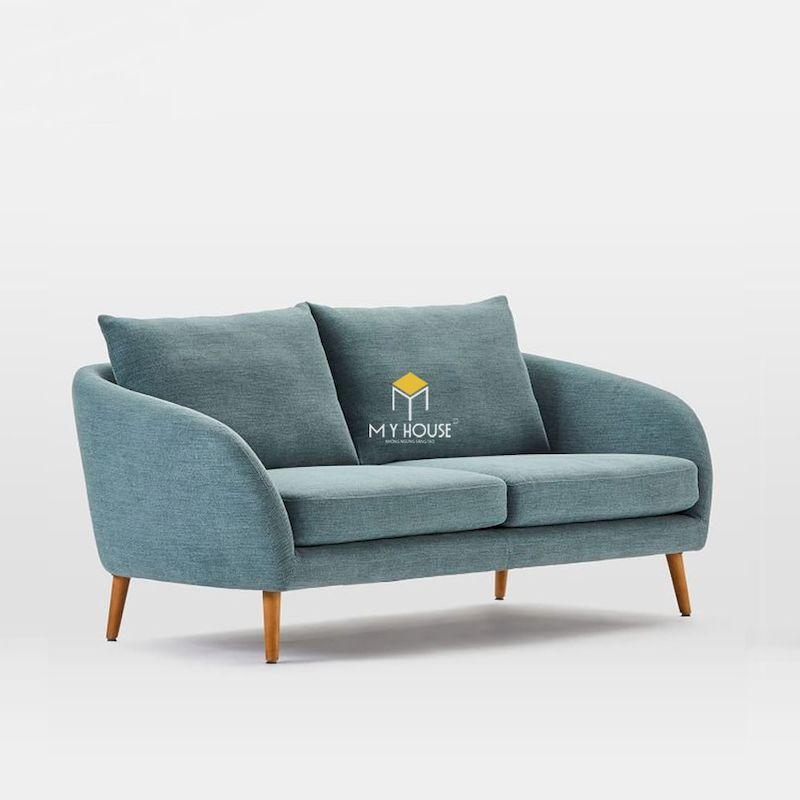 Sofa văng nỉ chân gỗ tự nhiên