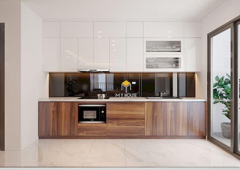 Mẫu tủ bếp dưới đẹp cho bếp chữ I phủ acrylic bóng gương
