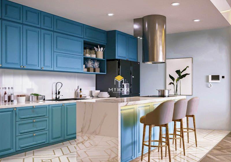 Mẫu tủ bếp hiện đại với màu xanh coban đẹp
