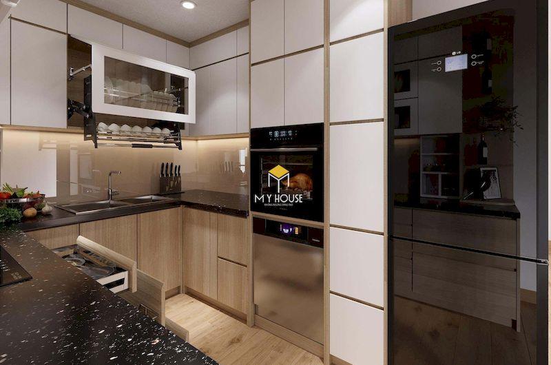 Tủ bếp dưới gỗ công nghiệp đẹp cho phòng bếp hiện đại chữ U