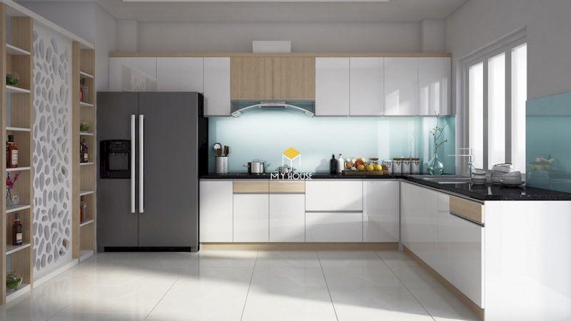 Tủ bếp dưới đẹp gỗ công nghiệp phủ acrylic bóng gương