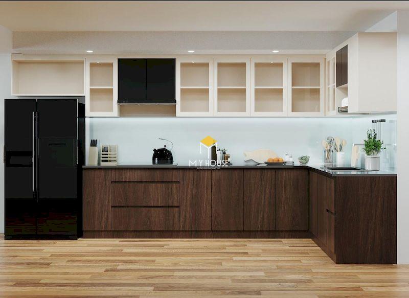 Mẫu tủ bếp gỗ công nghiệp phủ melamine và acrylic