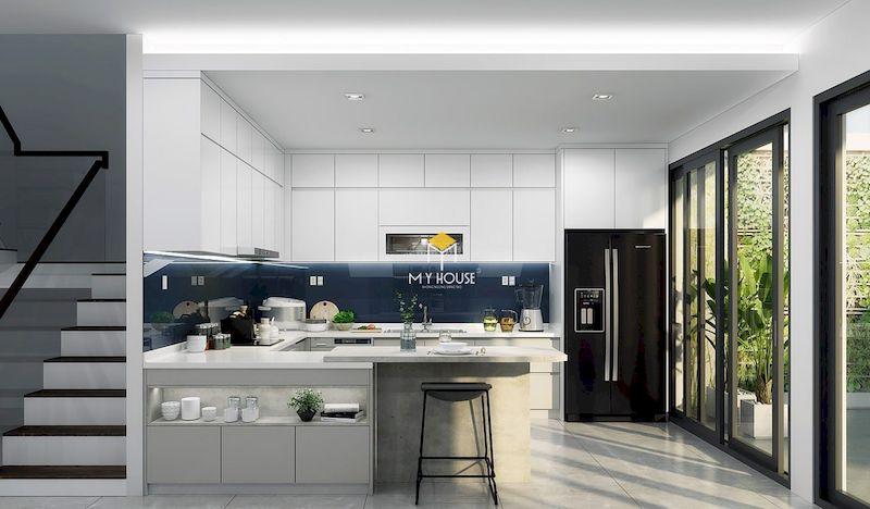 Thiết kế nội thất phòng bếp hiện đại màu trắng