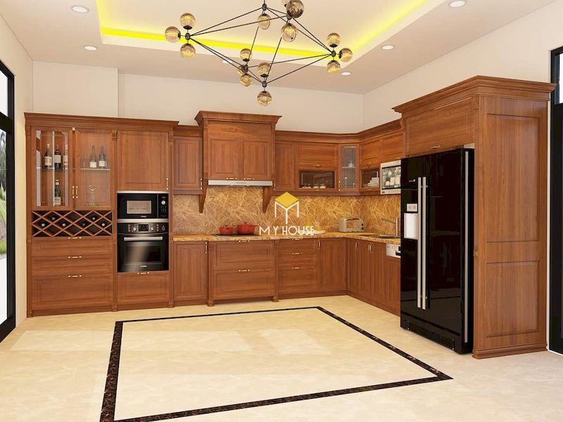 Tủ bếp dưới gỗ tự nhiên