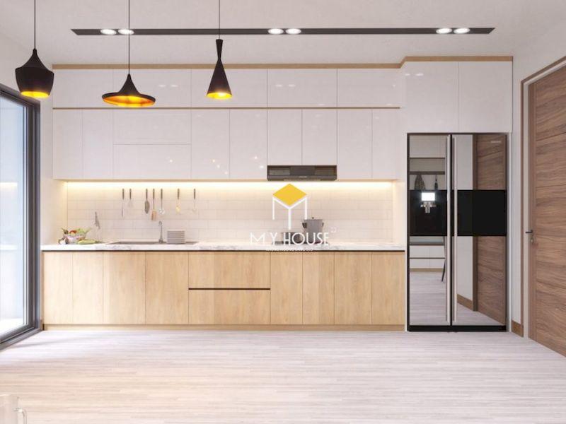 Tủ bếp MDF phủ melamine và acrylic
