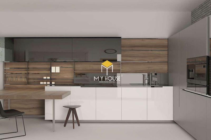 Thiết kế nội thất phòng bếp gỗ công nghiệp