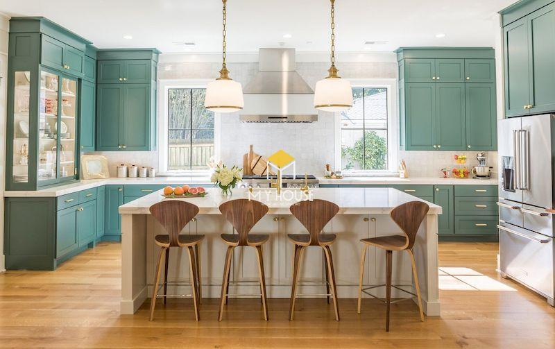 Mẫu tủ bếp màu xanh ngọc