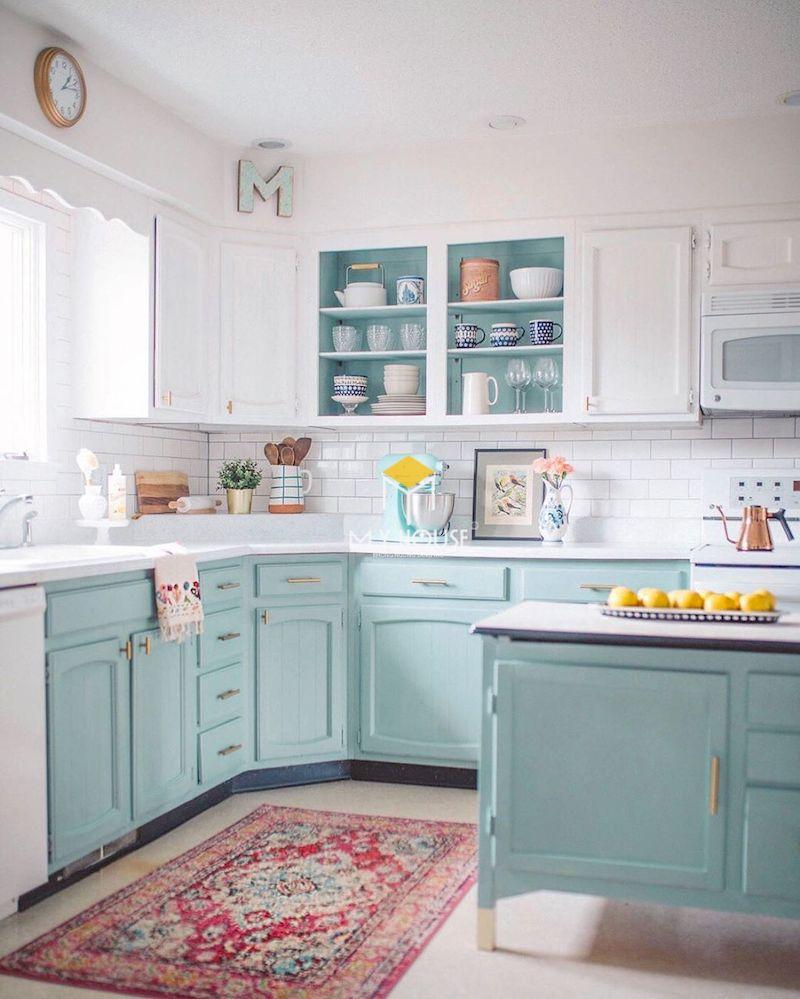 Mẫu tủ bếp màu xanh pastel