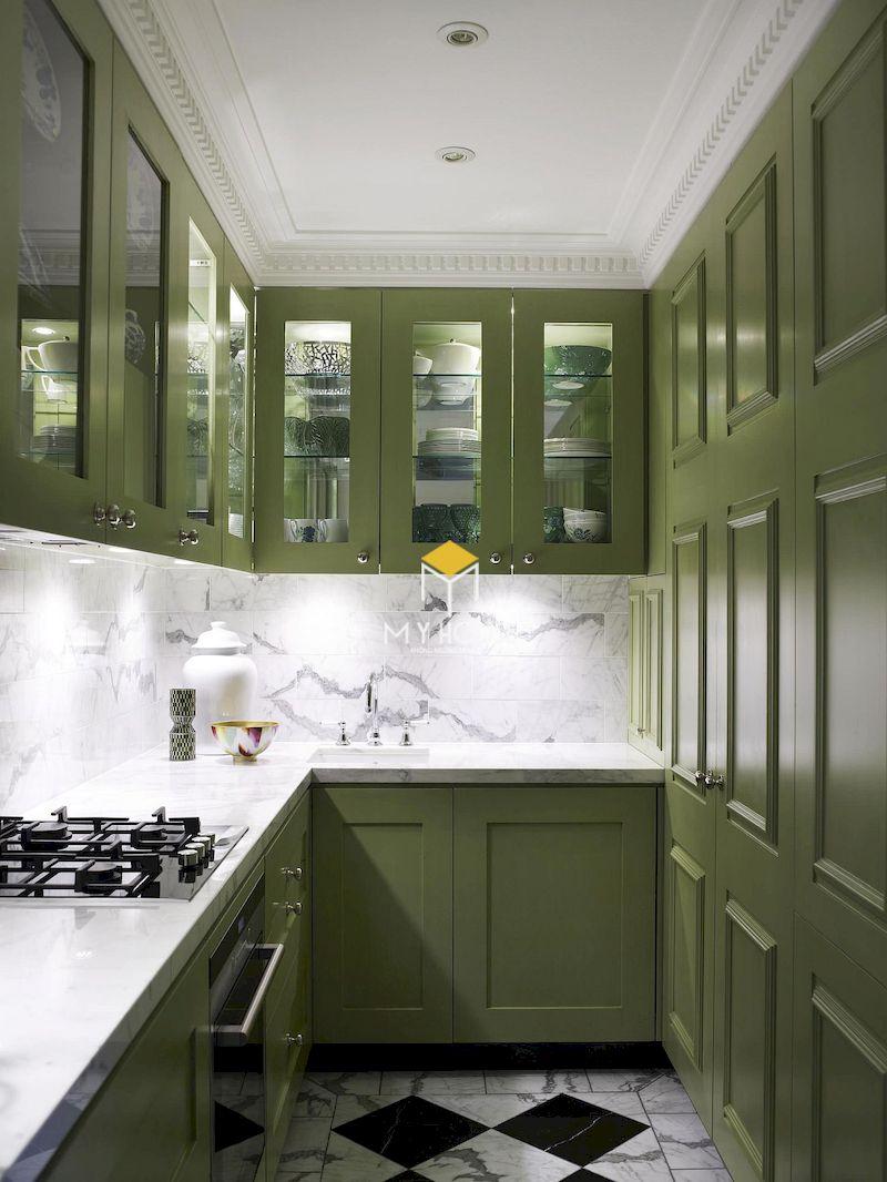 Màu xanh rêu sang trọng, cổ kính cho không gian nội thất chung cư