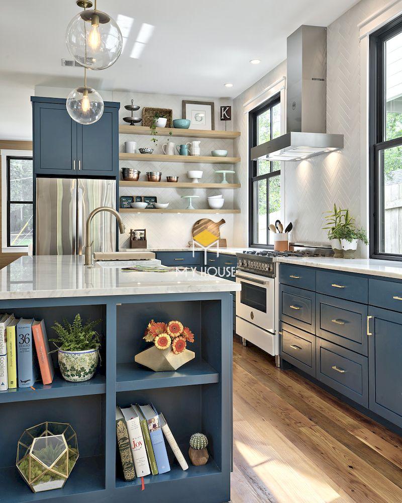 Tủ bếp màu xanh coban