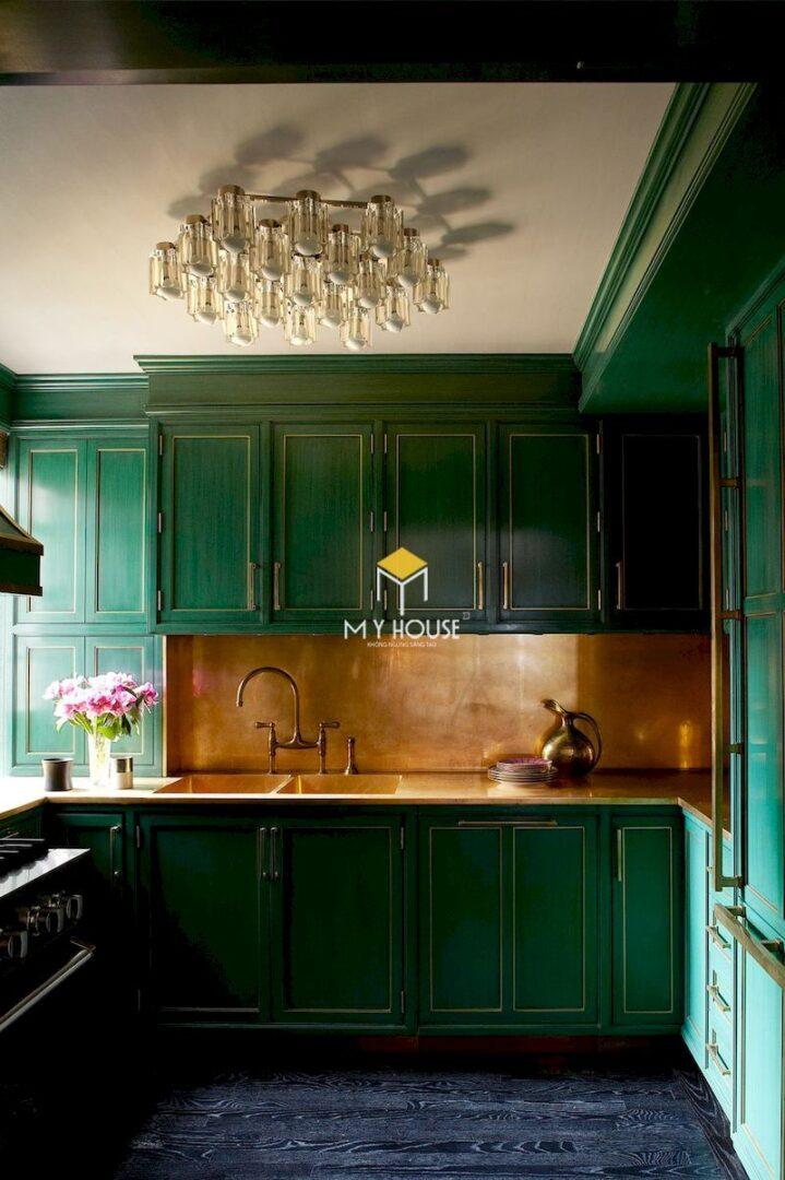 Mẫu tủ bếp màu xanh lá