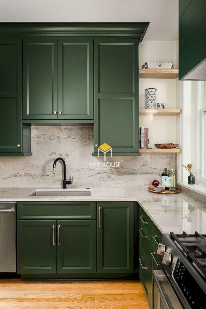 Mẫu tủ bếp màu xanh rêu
