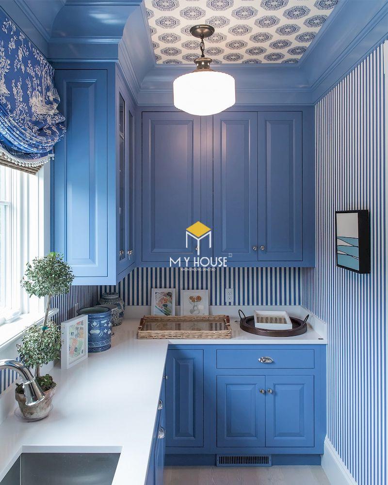 Thiết kế nhà bếp tân cổ điển màu xnah sang trọng và thanh lịch