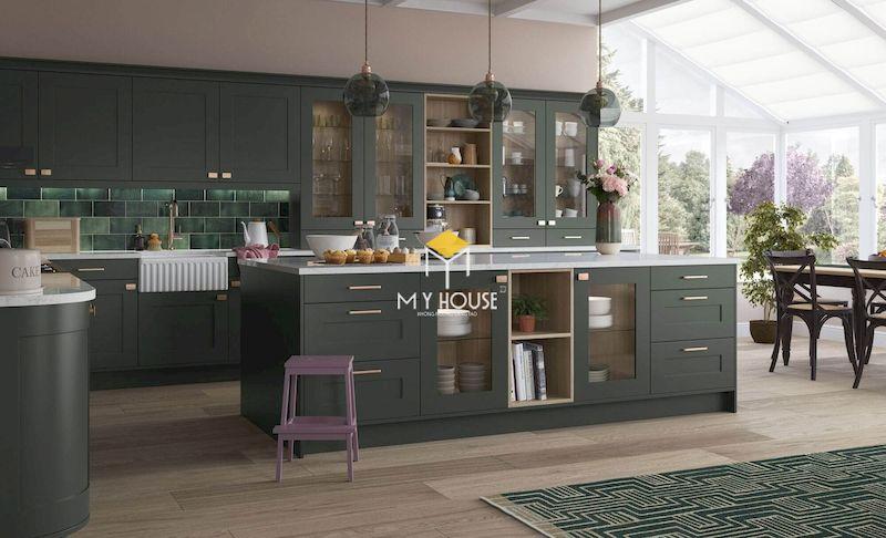 Tủ bếp gỗ công nghiệp MDF lõi xanh sơn màu