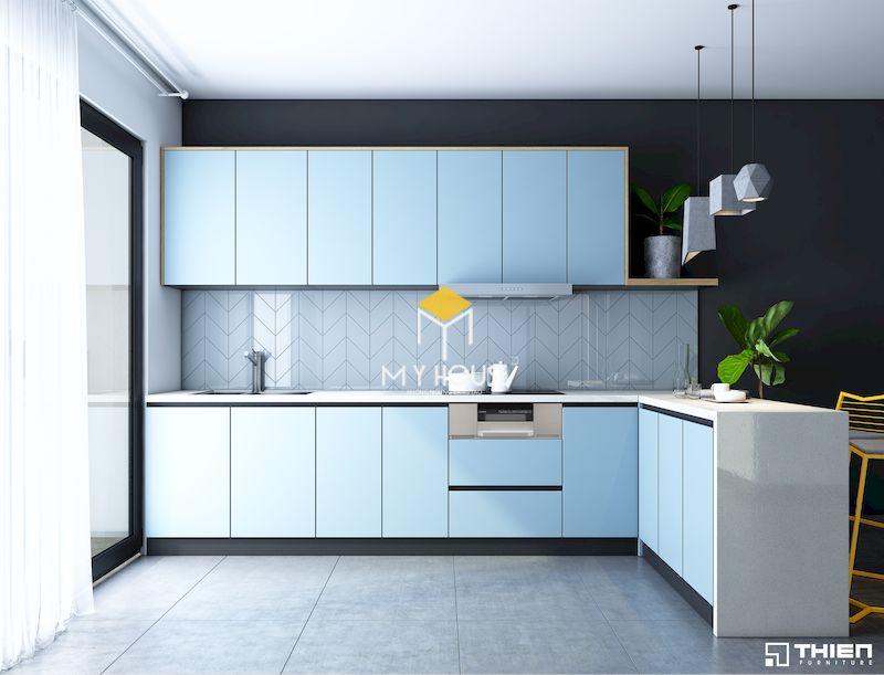 Tủ bếp hiện đại màu xanh