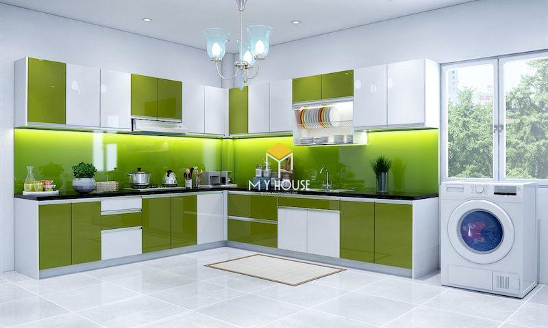 Tủ bếp màu xanh lá mạ