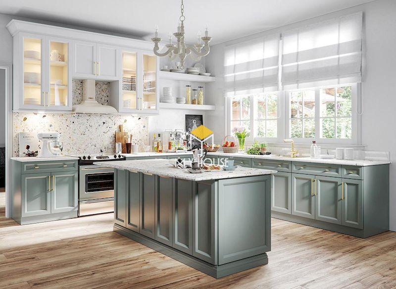 Tủ bếp màu xanh ghi