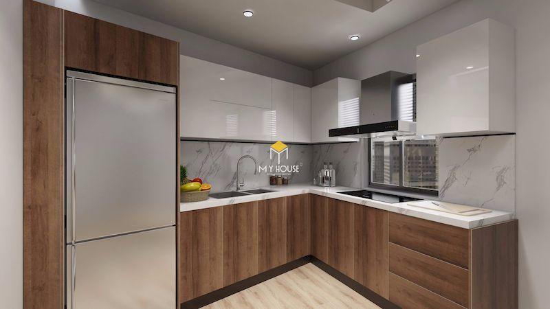 Tủ bếp MDF phủ acrylic có giá trị thẩm mỹ cao
