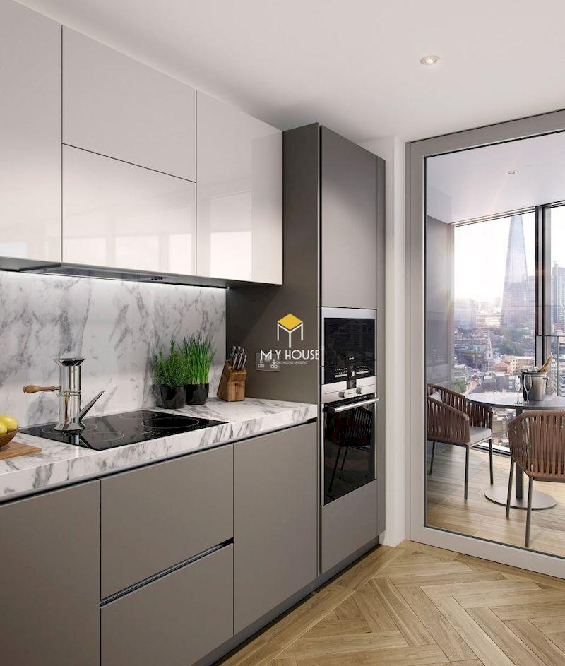 Thiết kế nội thất tủ bếp acrylic cho chung cư hiện đại