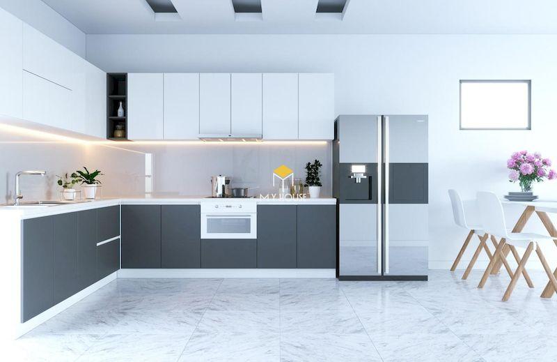 Tủ bếp picomat cánh phủ acrylic thiết kế đơn giản, hiện đại cho chung cư