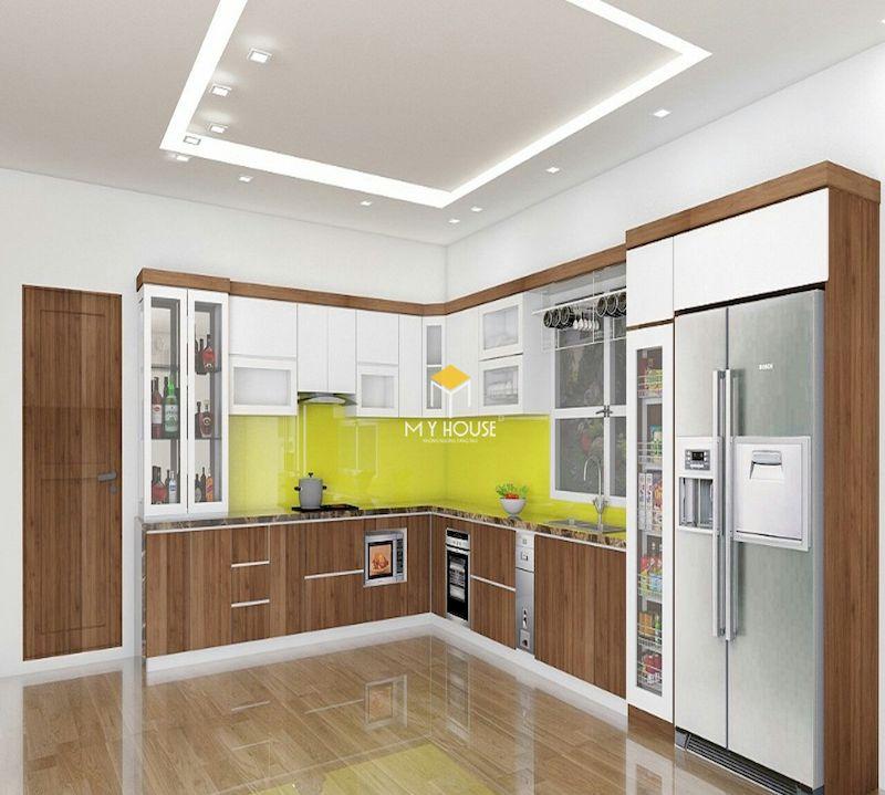 Mẫu tủ bếp gỗ nhựa cho chung cư hiện đại