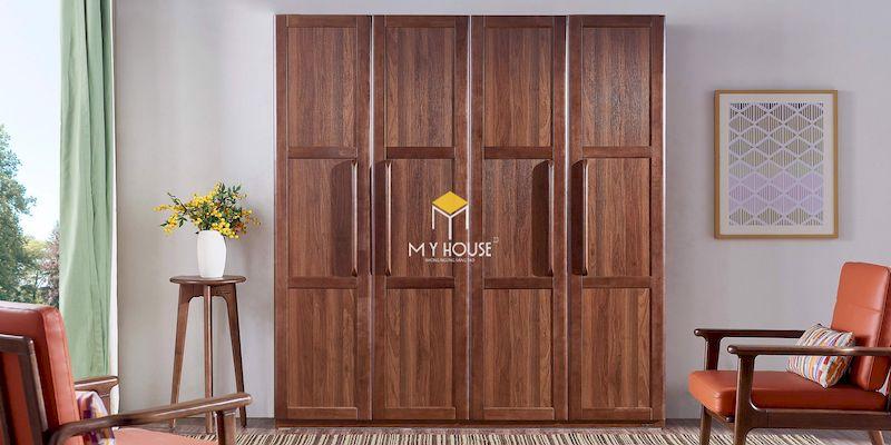 Mẫu tủ quần áo gỗ tự nhiên 4 cánh mở
