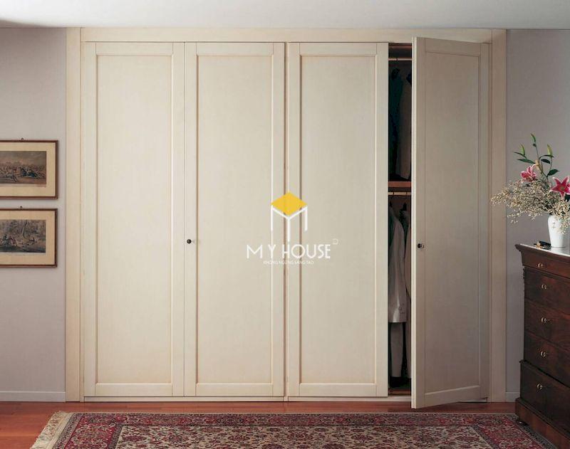 Mẫu tủ quần áo gỗ tự nhiên 4 cánh âm tường