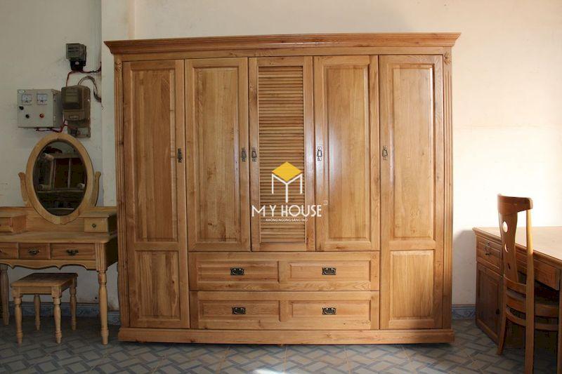 Tủ quần áo gỗ tự nhiên cho phòng ngủ sang trọng