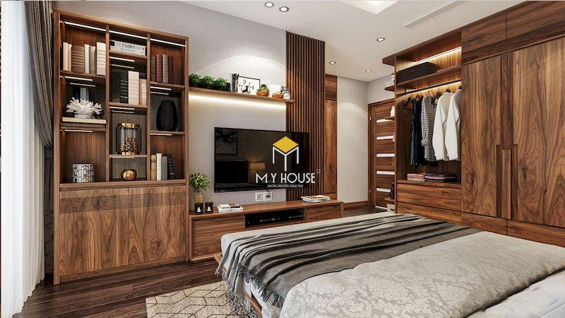 Mẫu tủ quần áo gỗ óc chó cho phòng ngủ master