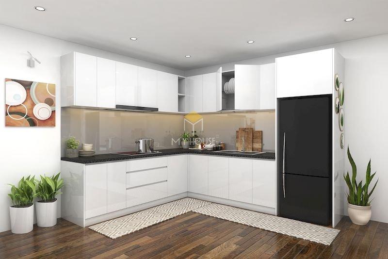 Tủ bếp acrylic chữ L - Mẫu 7