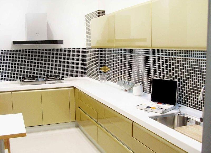 Tủ bếp acrylic chữ L - Mẫu 10