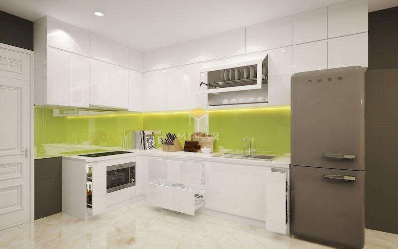 Tủ bếp acrylic chữ L - Mẫu 1