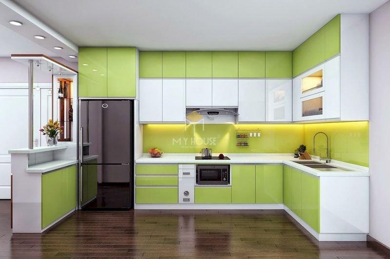 Tủ bếp acrylic chữ L - Mẫu 6