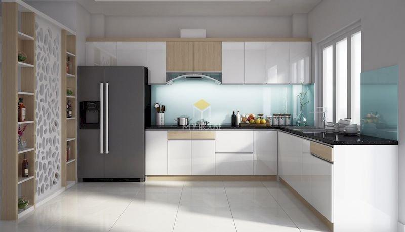 Tủ bếp acrylic chữ L - Mẫu 11