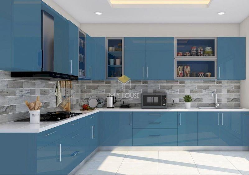 Tủ bếp acrylic chữ L - Mẫu 2