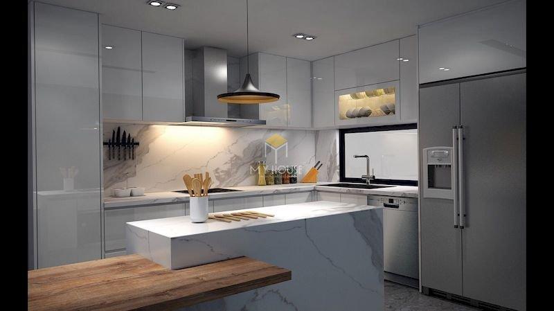 Tủ bếp acrylic chữ L - Mẫu 15