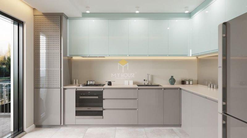 Tủ bếp acrylic chữ L - Mẫu 13