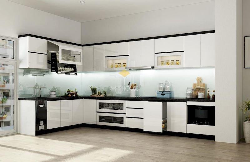 Tủ bếp acrylic chữ L - Mẫu 9