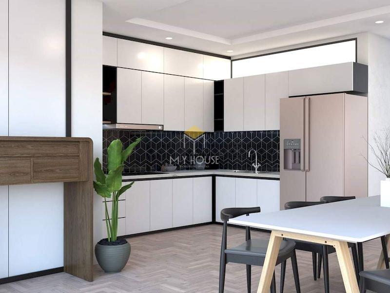 Tủ bếp acrylic chữ L - Mẫu 12