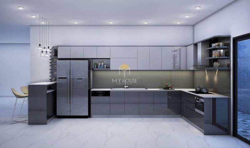 Tủ bếp acrylic chữ L - Mẫu 14
