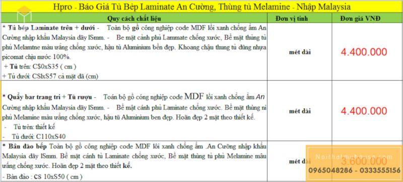 Báo giá tủ bếp gỗ công nghiệp MDF phủ Laminate