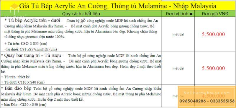 Báo giá tủ bếp gỗ công nghiệp MDF phủ Melamine