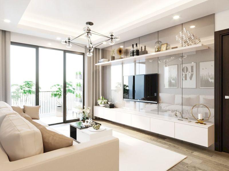 Sofa, kệ tiv, bàn trà, kệ trang trí cho phòng khách nhỏ