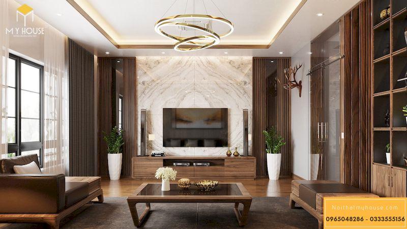 Thiết kế hoàn thiện nội thất phòng khách gỗ óc chó