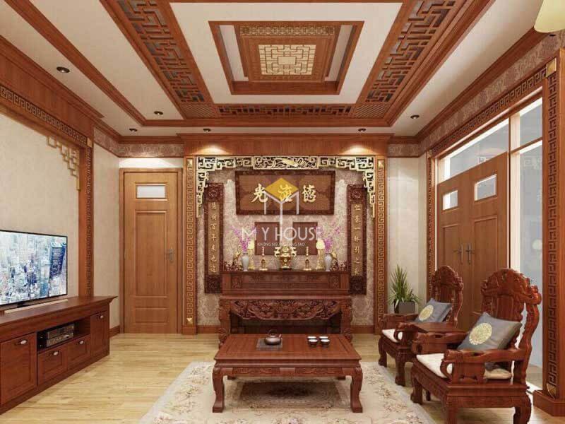 Phòng thờ biệt thự gỗ tự nhiên