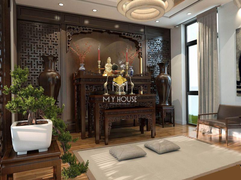 Nội thất phòng thờ chất liệu gỗ tự nhiên