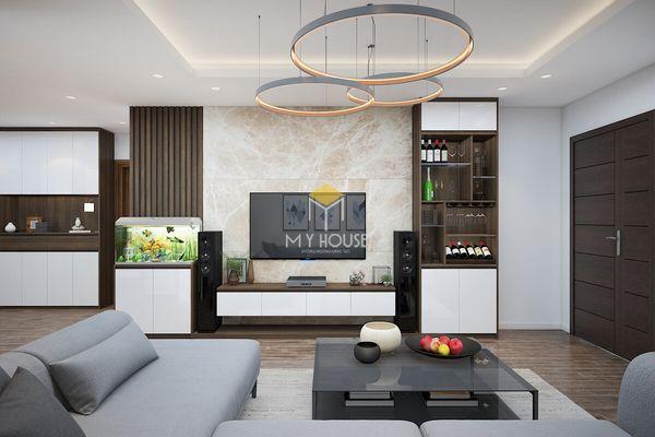 Mẫu phòng khách ốp nhựa PVC vân đá ốp tường kệ tivi