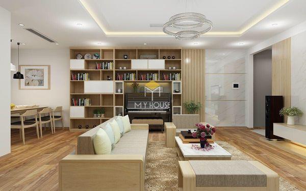 Mẫu phòng khách ốp nhựa PVC trang trí tường chung cư