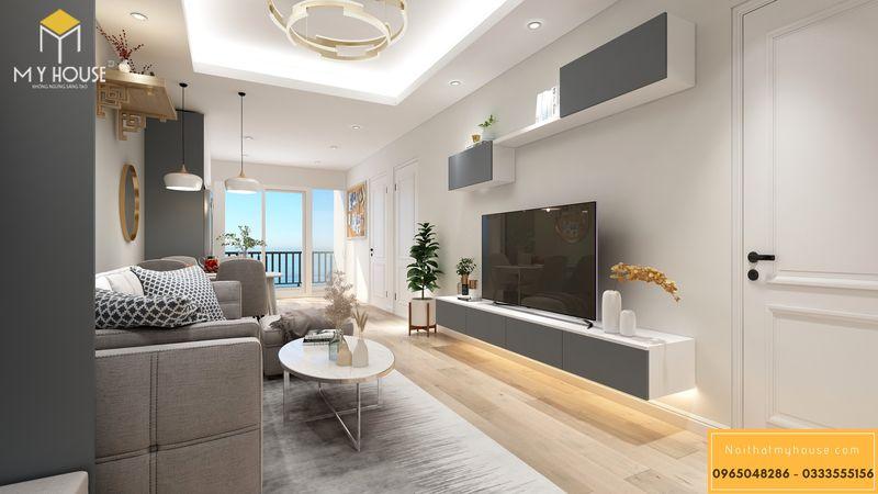Mẫu nội thất phòng khách gỗ công nghiệp chung cư